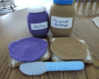 Crochet Peanut Butter and Jelly Sandwich Set, Made to Order