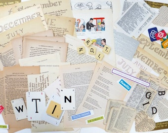 Words Scrap Pack, Letters Collage papers, Over 65 pieces, Eco-friendly Paper Ephemera pack, supplies, Scrap-booking