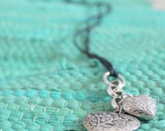 dangle floral heart necklace