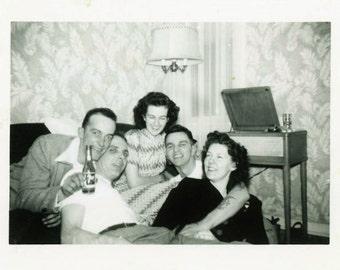 "Vintage Photo ""7up Party"" Snapshot Photo Old Antique Photo Black & White Photography Found Photo Paper Ephemera Vernacular - 45"