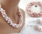 Chunky Pink Pearl Bridal Jewelry Set, Crystal Pearl Necklace, Bracelet and Earrings Set, Pearl Bridesmaids Jewelry