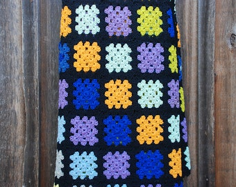 Vintage Crocheted Granny Afghan / 1970s Crocheted Afghan / Colorful Afghan
