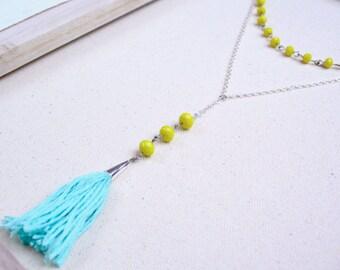 Aqua and Citrus Tassel Lariat Necklace in Silver