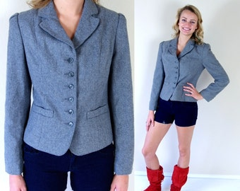 vtg 70s GRAY wool FITTED JACKET skinny Small blazer puff sleeve riding boho equestrian fall