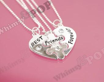 1 - Silver Tone Best Friends Forever Puzzle Heart Charm Set, Best Friends Pendant Set, Best ...