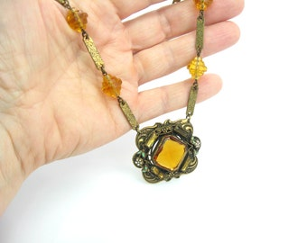 Art Deco Czech Necklace. Amber Topaz Glass & Enamel Flowers. Engraved Links Choker. Antique Necklace. Vintage 1920s Art Deco Jewelry.