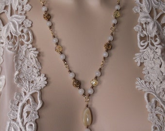 Yellow and White Necklace/Earrings - 'Yellow Roses in the Moonlight' - Agate stone, crystal glass, brass