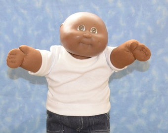 """Cabbage Patch Clothes - for 16"""" - 18"""" Boy Dolls - Traditional White T-Shirt - Handmade"""