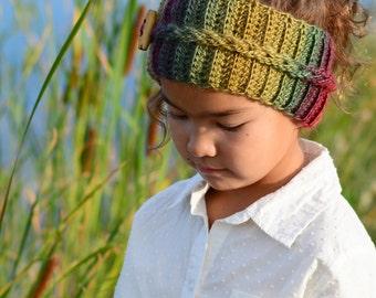 CROCHET PATTERN - Autumn Breeze Headwrap - crochet headband pattern in 5 sizes (Infant, Baby, Toddler, Child, Adult) - Instant PDF Download