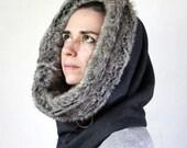 Fake fur scarf, fur cowl, hooded cowl, fake fur snood, Snock® with faux rabbit lining