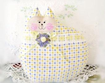 Cat Pillow Doll Cloth Doll 7 inch Cat, Yellow Lavender Blue Print Fabric,Kitty Pillow Handmade CharlotteStyle Decorative Folk Art TeamHAHA