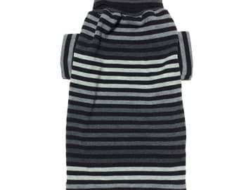 Medium Black and Gray Striped Designer Dog Sweater, Pet Boutique Puppy Apparel, Boy Dog Clothes