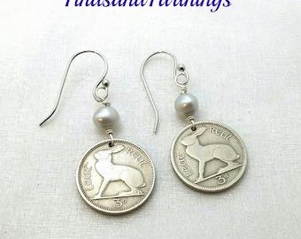 IRISH RABBIT coin earrings - Ireland jewelry - Celtic earrings - Vintage Irish coins - Rabbit earrings - rabbit jewelry - bunny earrings