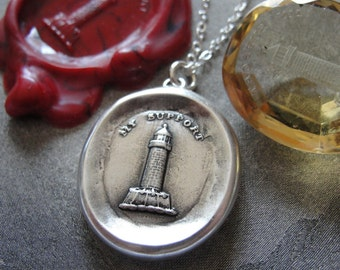 Lighthouse Wax Seal Necklace - My Support - antique wax seal charm jewelry Strength Protection by RQP Studio