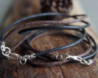 """Waxed cotton cord 1.5mm (braided) with sterling silver clasp (16"""" 18"""" 20"""" 24"""") black or brown - Animal friendly"""