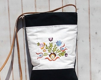 linen canvas tote bag embroidered shabby chich womens bag, leather strap