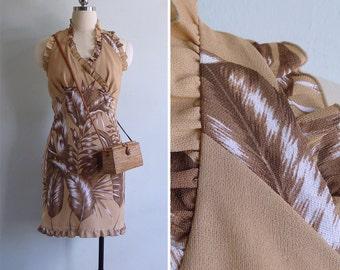 Vintage 80's ALOHA Hawaiian Palm Print Ruffled Halter Dress S