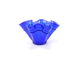 Blue Hand Blown Glass Bowl