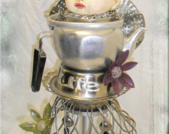 Life art doll, Upcycled, repurposed, recycled, assemblage, altered, OOAK,