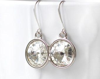 Swarovski Crystal Rivoli Earrings, Sterling Silver Earrings, Round Crystal Earrings, Clear Crystal Silver Earrings, Earrings Gift