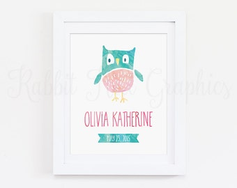 Owl Nursery Print, Baby Girl, Name and Birth Date, Woodland, Monogram, Custom Name Print, Pink, Blue