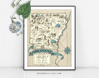 ARKANSAS MAP - Instant Digital Download - printable vintage state map for framing, totes, cards, mugs, tags - fun pictorial map wall decor