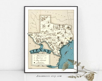 TEXAS PICTURE MAP Print - Instant Digital Download - printable vintage picture map for framing, totes, t-shirts, mugs - fun retro map art