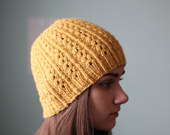 Twisted Knit Beanie in Sungold