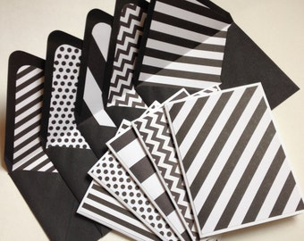 Set of 5 // Blank Note Card Set // Black & White Note Cards // Monochrome Cards // Black Patterned Envelopes // Lined Envelopes // Invites