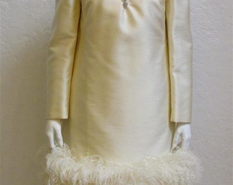"""1960's """"Pat Sandler"""" Ivory Silk Sheath Dress With Rhinestone Buttons and Ostrich Feathers - S/M"""