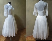 1950's Rare Ceil Chapman Wedding Dress White on White Voile with Double Pleated Skirt - Casual Elegance