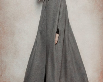 Grey Wool Coat, Long Cashmere Coat, Wool Cape, Wool Cloak, Single Breasted Coat Jacket, Wool Jacket, Grey Jacket, Oversize Jacket