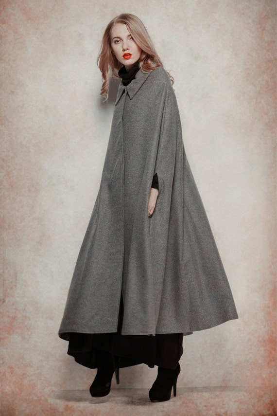 Grey Wool Coat Long Cashmere Coat Wool Cape Wool Cloak