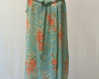 Vintage Aqua Blue Floral Pleated Ruffled Neckline Nightgown Dress