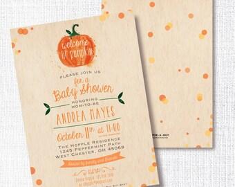 LIL PUMPKIN fall baby shower invitation little pumpkin gender neutral invite sprinkle sip and see open house brunch orange rustic confetti