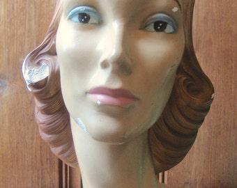 Antique 1940s Female Mannequin Bust - Vintage Mannequin Head with Molded Hair - Hat Stand Display - Head Form Photo Prop - Postwar Antique