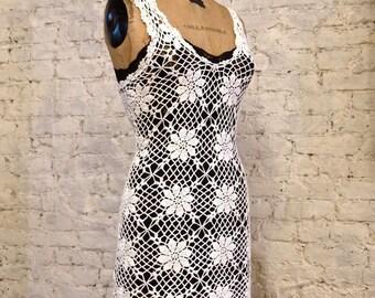 70s Crochet Dress - All Handmade - Beautiful Sexy Fitted Dress