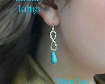 Infinity Earrings, Turquoise Earrings, Silver Infinity, Tribal Radiance By AlchemyDivineCouture