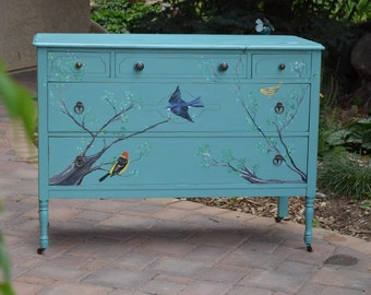 Hand Painted by Me Bird Dresser: Backyard Songbirds Bluebird, Swallow, Tanager, Warbler, Antique Turquoise Dresser, Wood, Dovetailed Drawers