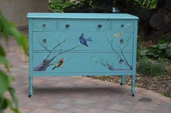 Hand-painted Dresser from Birdifacts Old and New