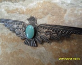 Rare Old Pawn Fred Harvey Era Turquoise BROOCH; Natural Stone; Navajo Unsigned Old Pawn c. 1930