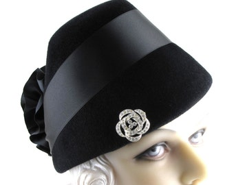 Art Deco 1930s Most Popular Hat of 1935 Black Velour Fur Felt Satin Ribbon Rosette This is a Custom Order