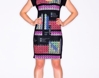 Periodic Table Panel Dress - Periodic Elements Dress - Science Dress - Geeky Chemistry Lover Dress - Chemistry Teacher Gift