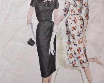 Vogue 9835 /Slim Dress Pattern/ Deep Back Neckline /Vintage Sewing Pattern