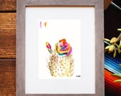 Cactus Art. Cacti Art. Cactus Watercolor. \Arizona Art. Prickly Pear Art. Southwest Art. Rainbow Flower Watercolor. Plant Art. Botanical Art