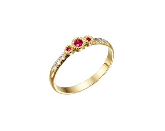 Dimond ring , Ruby engagement ring ,Diamond and Ruby ring, Wedding ring, Engagement ring, Gold and Ruby ring,Sapphire ring