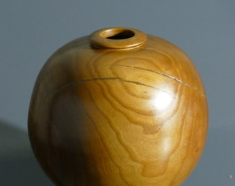 Rich Handmade Almond Wood Hollow Form Vase