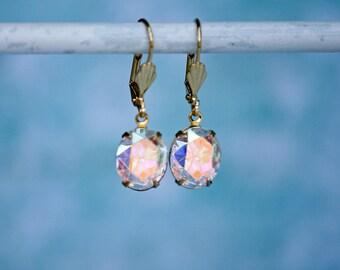Sparkling Swarovski Crystal AB Rhinestone Earrings