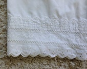 Set of 2 Wamsutta Supercale Plus Solid White Eyelet Embroidered Trim Standard Size Bed Pillowcases Vintage Bed Linens