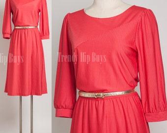 Vintage Red Dress, 80s dress, Vintage Dress, Secretary dress, pin stripe dress - M/L